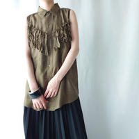 Sleeveless Fringe Yoke Silk Blouse KA