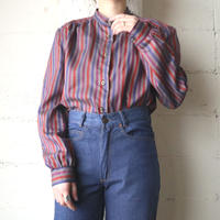 Band Collar Stripe Blouse GRBLRE