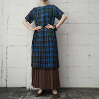 60's Vintage Check Pleated Dress BL BR