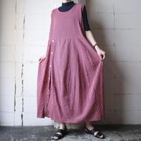 Side Button Stripe Sleeveless Dress PINV