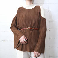 Fake Suede Pleated Design Tops BR