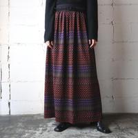 Wave Pattern Long Skirt BKOR