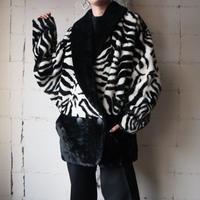 Zebra Pattern Fake Fur Coat BKWH
