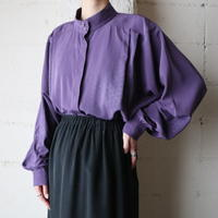 Stand Collar Tuck Blouse PUR