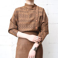 Side Button Pattern Blouse BR