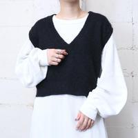 Mohair V Neck Knit Vest BK