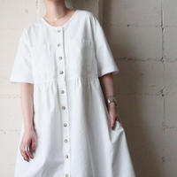 Front Button Short Sleeve Dress WH