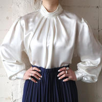 Pleated Stand Collar Shiny Blouse WH