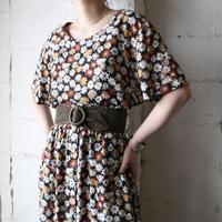 Flower Pattern Collarless Dress BKBR