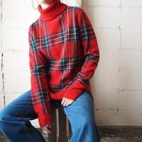 LAUREN Plaid Turtle Neck Sweater RE