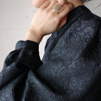 Embossed Paisley Stand Collar Blouse BK