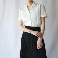 60's EURO Stripe Embroidery Open Collar Blouse IV