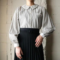 Double Collar Stripe Blouse GR WH
