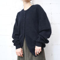 Angora Mix Crew Neck Cardigan BK