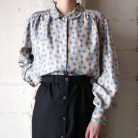 Round Collar Pattern Silk Blouse BLBR