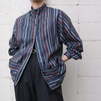 Stripe Stand Collar Shirt