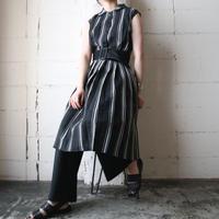 Pleated Stripe Shirt Dress BK WH