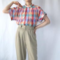 Check Band Collar French Sleeve Blouse REYEGR