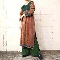Side Slit Pattern Knit Dress GRBR