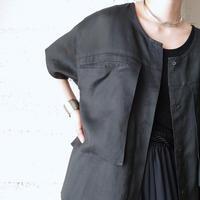 3D Big Pocket Linen Shirt BK