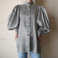 Volume Sleeve Stripe Blouse WHBK