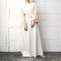70's Seethrough Sleeve Pattern Dress BE