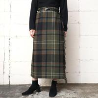 Plaid Wool Wrap Skirt KA