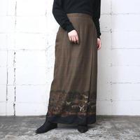 Houndstooth × Dog Pattern Tight Skirt BRBK