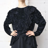 Ruffled Design Velour Tops BK