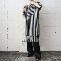 Layered Design Stripe Dress BK GR