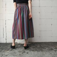 70's Calvin Klein Stripe Flared Skirt BR BL RE