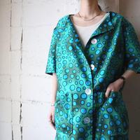 Collarless Dot Work Coat Dress GNBL