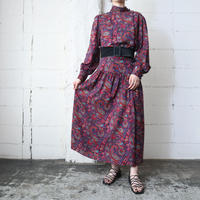 Paisley Stand Collar Side Button Dress RE