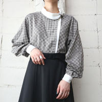 Turn Over Collar Square Pattern Blouse BEGR