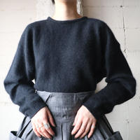 Dropped Shoulder Angora Mix Sweater BK