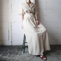 Open Collar Front Button Short Sleeve Dress IV