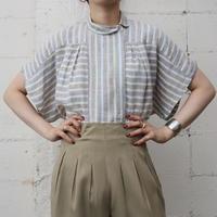 Round Collar Stripe LinenMix  Blouse LBR