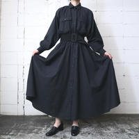 Long Shirt Dress Flared Skirt BK