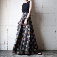 Flower Pattern Flared Skirt BK