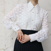 60's EURO Flower Pattern  See Through Blouse WH