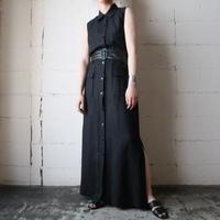 Sleeveless Linen Shirt Dress BK