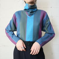Wide Stripe Stand Collar Blouse KA BL RE