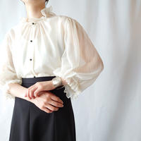 Pleated Sleeve See Through Blouse IV