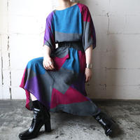 Collarless Panel Pattern Dress GRBL