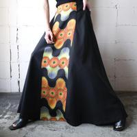 Pattern Front Long Flared Skirt BK