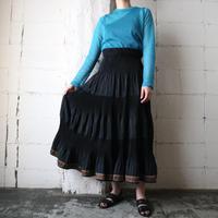 Pleated Design Long Skirt BK