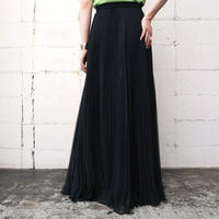 Pleated Seethrough Long Skirt BK