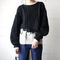 Cut Off Hem Fisherman' Sweater BK