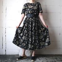 Flower Pattern Collarless Dress BKBE