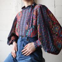 Pleated Sleeve Pattern Blouse BK RE
